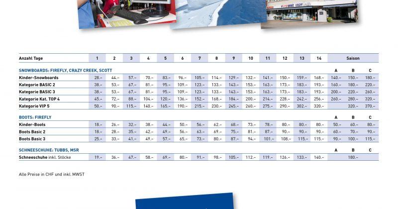 Snowboard Mietpreise 2020 2021